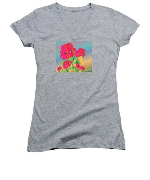 Women's V-Neck T-Shirt (Junior Cut) featuring the digital art Family by Iris Gelbart