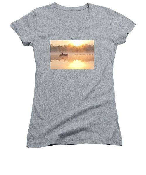 Sunrise In Fog Lake Cassidy With Fisherman In Small Fishing Boat Women's V-Neck T-Shirt