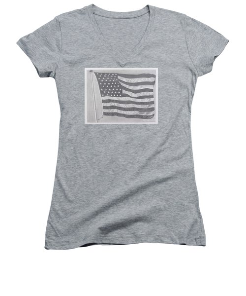 50 Stars 13 Stripes Women's V-Neck T-Shirt (Junior Cut) by Wil Golden