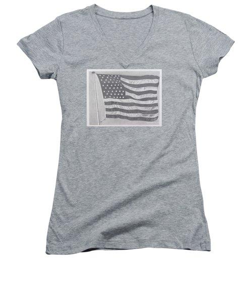 50 Stars 13 Stripes Women's V-Neck T-Shirt