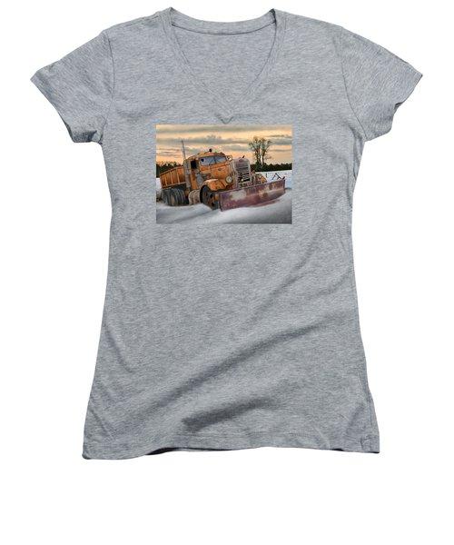 Women's V-Neck T-Shirt (Junior Cut) featuring the digital art '55 Pete Snowplow by Stuart Swartz