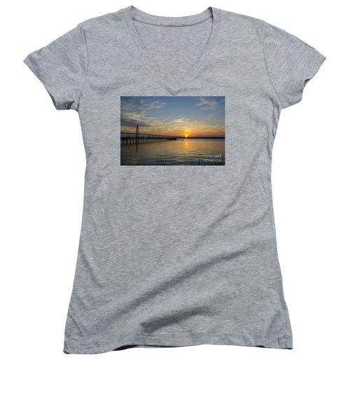 Women's V-Neck T-Shirt (Junior Cut) featuring the photograph Arthur Ravenel Bridge Tranquil Sunset by Dale Powell