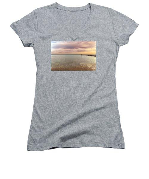 Breakwater Women's V-Neck T-Shirt (Junior Cut) by Peter Lakomy