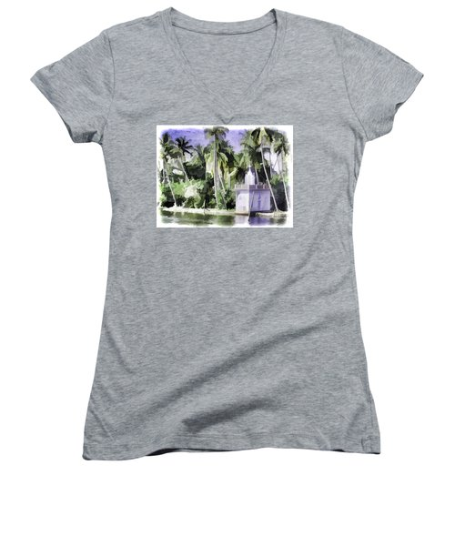 Church Located Next To A Canal Women's V-Neck T-Shirt (Junior Cut)
