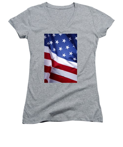 American Flag 50 Women's V-Neck (Athletic Fit)