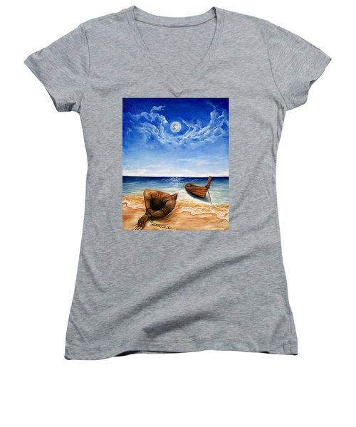 Women's V-Neck T-Shirt (Junior Cut) featuring the painting Home by Emery Franklin