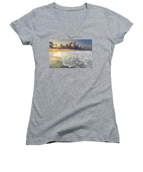 Sunrise On Hilton Head Island Women's V-Neck T-Shirt (Junior Cut) by Peter Lakomy