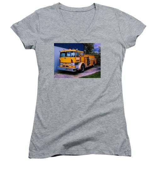 710 ....... Fire Dept. Women's V-Neck T-Shirt (Junior Cut) by Daniel Thompson