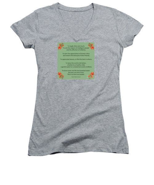 75- Ralph Waldo Emerson Women's V-Neck T-Shirt (Junior Cut) by Joseph Keane