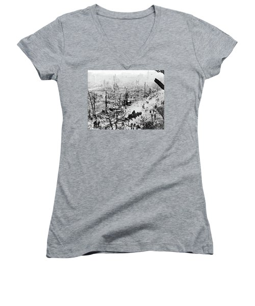 Women's V-Neck T-Shirt (Junior Cut) featuring the photograph Tokyo Earthquake, 1923 by Granger