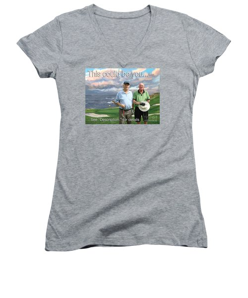 Women's V-Neck T-Shirt (Junior Cut) featuring the painting 8th Hole Pebble Beach by Tim Gilliland
