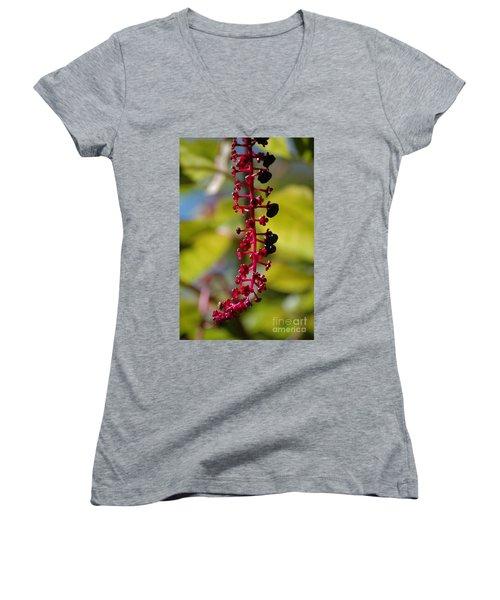 Women's V-Neck T-Shirt featuring the photograph Autumn Light by Christiane Hellner-OBrien