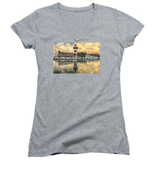 Lighthouse On Hilton Head Island Women's V-Neck T-Shirt (Junior Cut) by Peter Lakomy