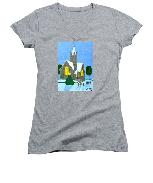 Women's V-Neck T-Shirt (Junior Cut) featuring the painting Merry Christmas by Magdalena Frohnsdorff