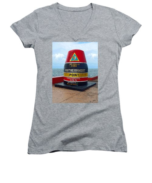 Southernmost Point Key West - 90 Miles To Cuba Women's V-Neck T-Shirt (Junior Cut) by Rebecca Korpita
