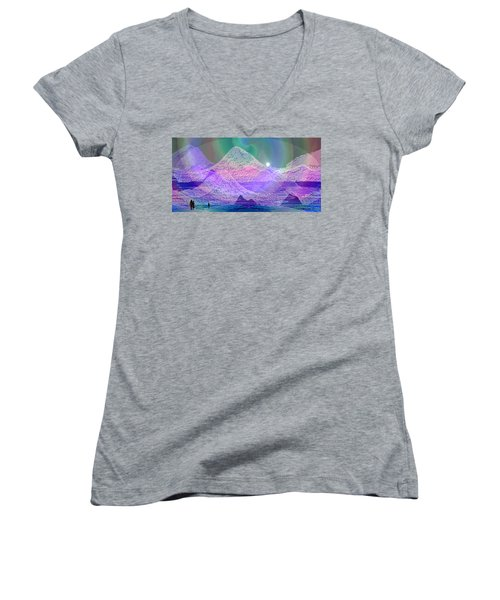 939 - Magic Mood  Mountain World Women's V-Neck T-Shirt (Junior Cut) by Irmgard Schoendorf Welch