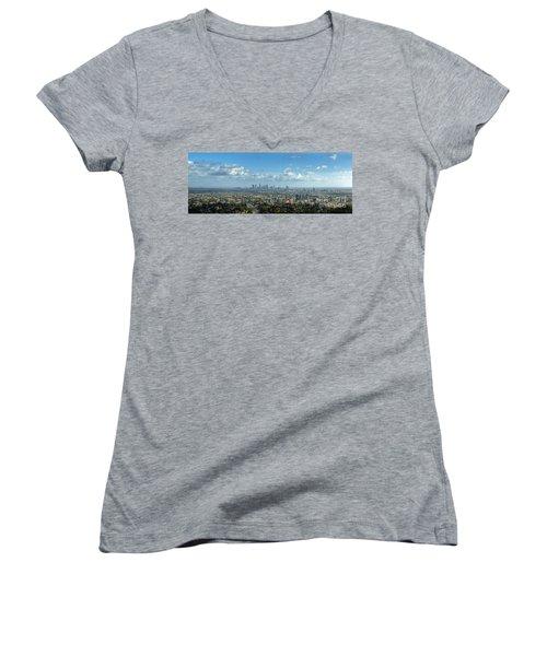 A 10 Day In Los Angeles Women's V-Neck T-Shirt (Junior Cut) by David Zanzinger