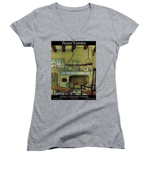 A 1920's Idea Of A Colonial Kitchen Women's V-Neck