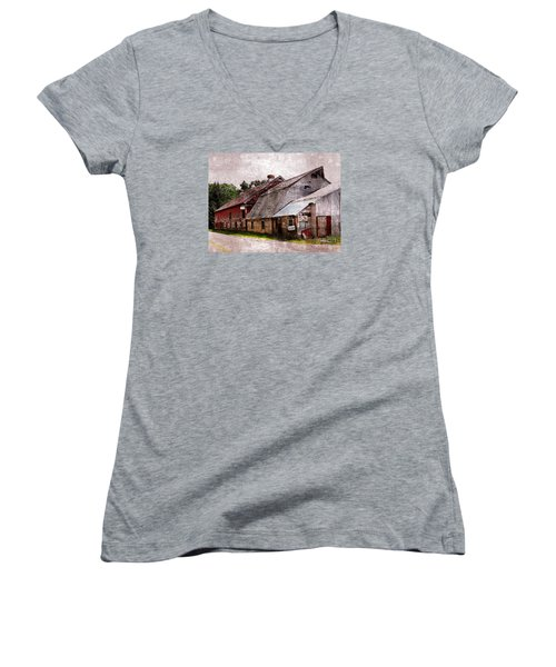 A Barn With Many Purposes Women's V-Neck T-Shirt (Junior Cut) by Marcia Lee Jones