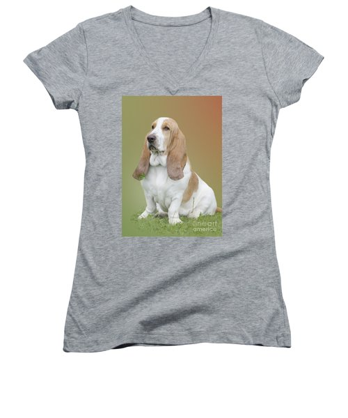 Women's V-Neck T-Shirt (Junior Cut) featuring the photograph A Basset Hound Portrait by Linsey Williams