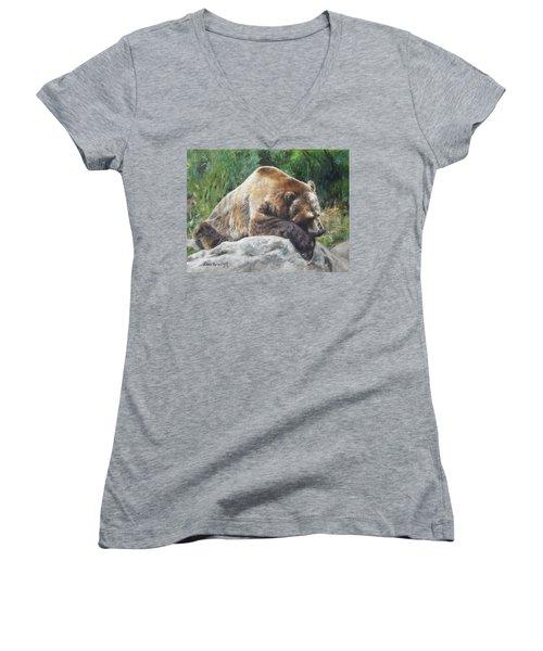 A Bear Of A Prayer Women's V-Neck T-Shirt (Junior Cut) by Lori Brackett