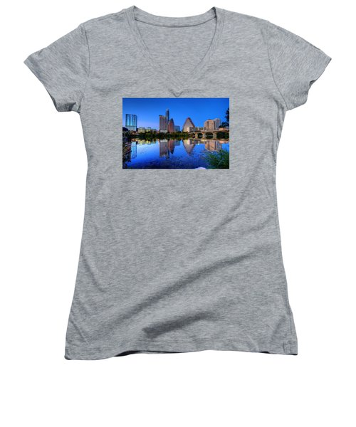 A Beautiful Austin Evening Women's V-Neck T-Shirt (Junior Cut) by Dave Files