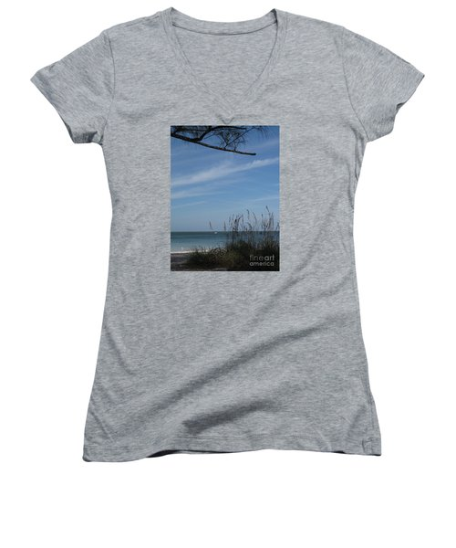 Women's V-Neck T-Shirt (Junior Cut) featuring the photograph A Beautiful Day At A Florida Beach by Christiane Schulze Art And Photography