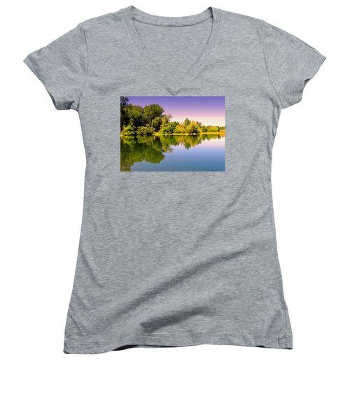 A Beautiful Day Reflected Women's V-Neck T-Shirt (Junior Cut) by Joyce Dickens