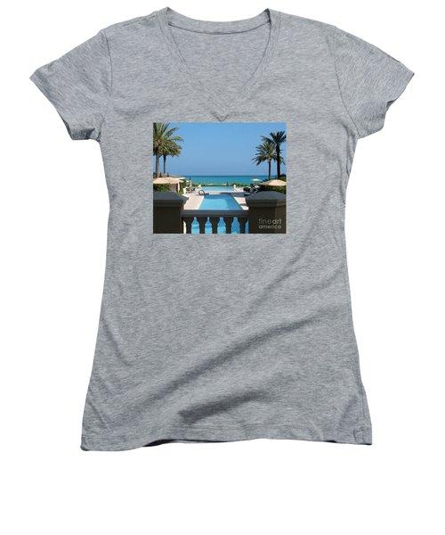 A Beautiful View Women's V-Neck T-Shirt (Junior Cut) by Patti Whitten