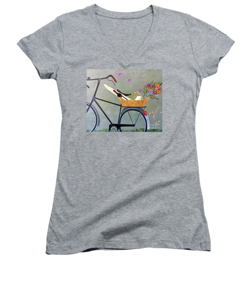 A Bicycle Break Women's V-Neck (Athletic Fit)