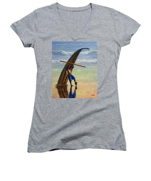 A Boy And His Caballito De Totora, Peru Impression Women's V-Neck T-Shirt