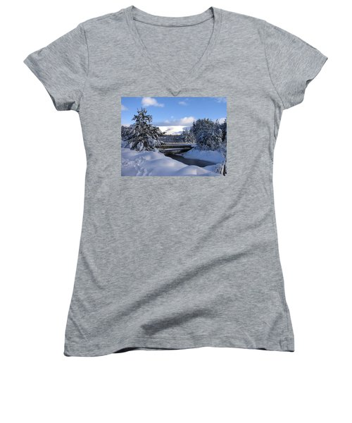 A Bridge In The Snow Women's V-Neck (Athletic Fit)