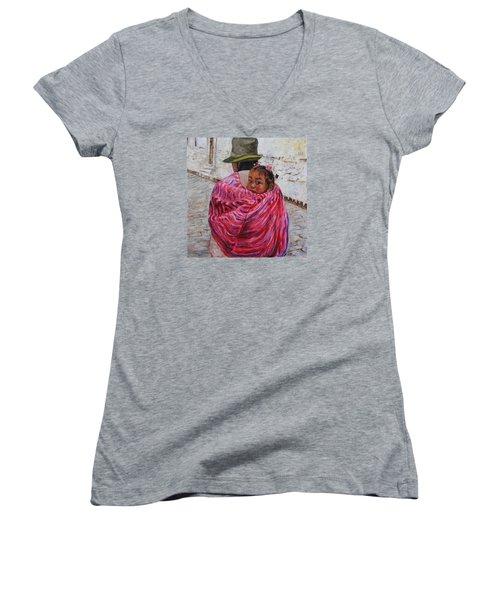 A Bundle Buggy Swaddle - Peru Impression IIi Women's V-Neck T-Shirt (Junior Cut) by Xueling Zou