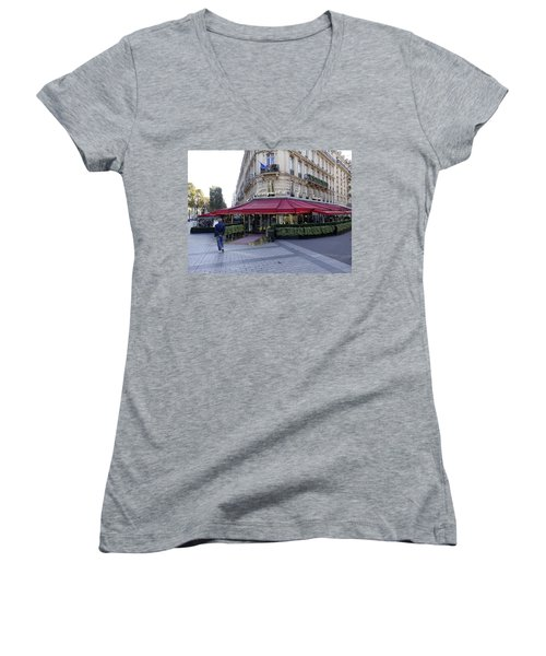 A Cafe On The Champs Elysees In Paris France Women's V-Neck (Athletic Fit)