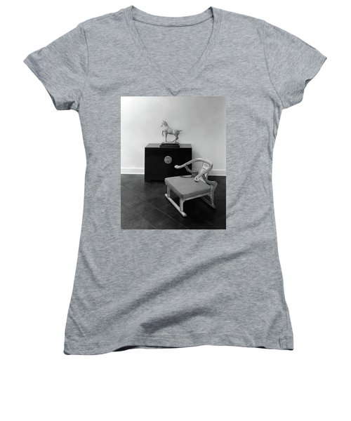 A Chair, Bedside Cabinet And Sculpture Of A Horse Women's V-Neck