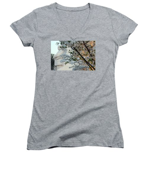 Women's V-Neck T-Shirt (Junior Cut) featuring the photograph A Cherry Blossomed Martin Luther King by Cora Wandel