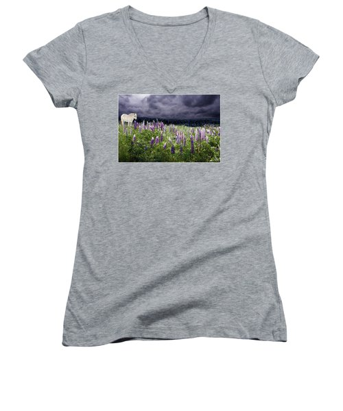 A Childs Dream Among Lupine Women's V-Neck T-Shirt
