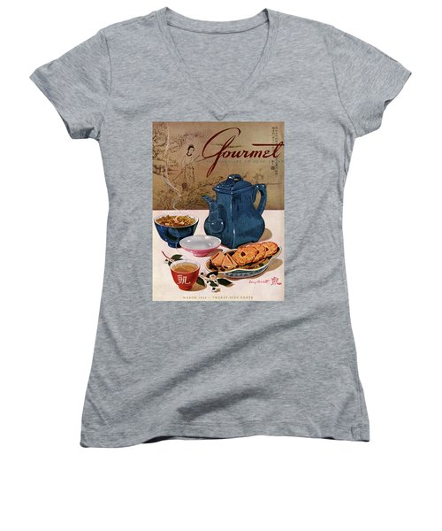 A Chinese Tea Pot With Tea And Cookies Women's V-Neck