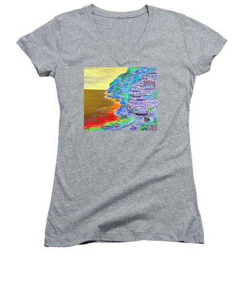 A Coastal View Of Positano Women's V-Neck T-Shirt