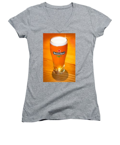 A Cold Refreshing Pint Of Heineken Lager Women's V-Neck T-Shirt (Junior Cut) by Semmick Photo