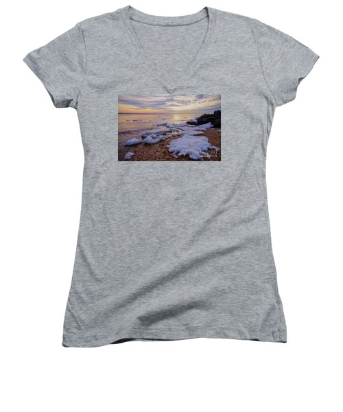 Women's V-Neck T-Shirt (Junior Cut) featuring the photograph A Cold Sandy Hook Winter by Debra Fedchin