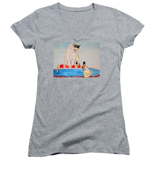 Women's V-Neck T-Shirt (Junior Cut) featuring the painting A Cup Of Chihuahua by Phyllis Kaltenbach