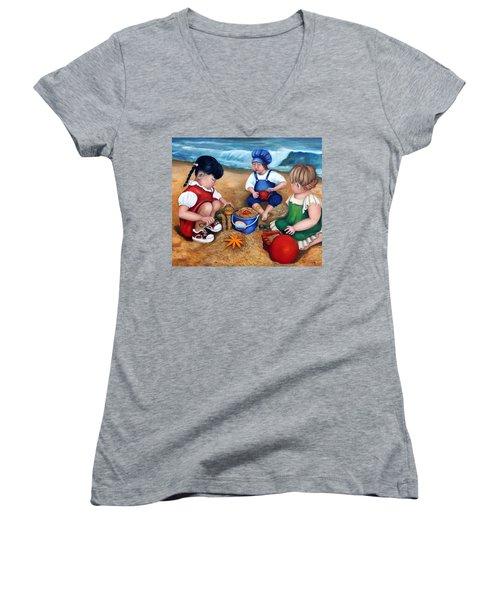 A Day At The Beach  Women's V-Neck T-Shirt (Junior Cut) by Enzie Shahmiri