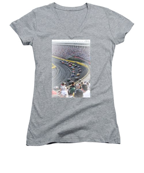 A Day At The Racetrack Women's V-Neck T-Shirt (Junior Cut) by Karol Livote