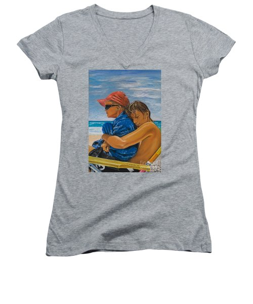 A Day On The Beach Women's V-Neck (Athletic Fit)