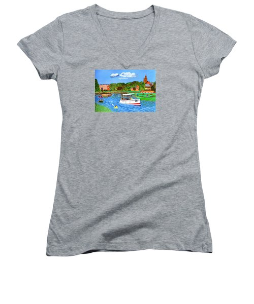 Women's V-Neck T-Shirt (Junior Cut) featuring the painting A Day On The River by Magdalena Frohnsdorff