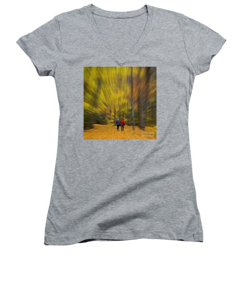 Women's V-Neck T-Shirt (Junior Cut) featuring the photograph A Fall Stroll Taughannock by Jerry Fornarotto