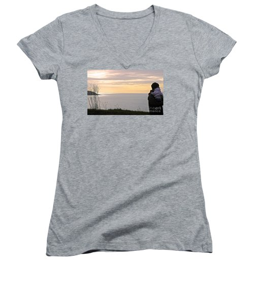 Women's V-Neck T-Shirt (Junior Cut) featuring the photograph A Father's Love by Suzanne Oesterling