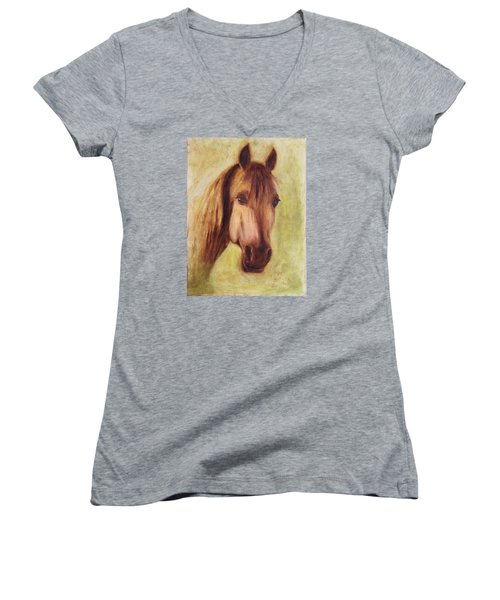 Women's V-Neck T-Shirt (Junior Cut) featuring the painting A Fine Horse by Xueling Zou