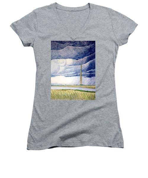 Women's V-Neck T-Shirt (Junior Cut) featuring the painting A Finger To The Sky by A  Robert Malcom